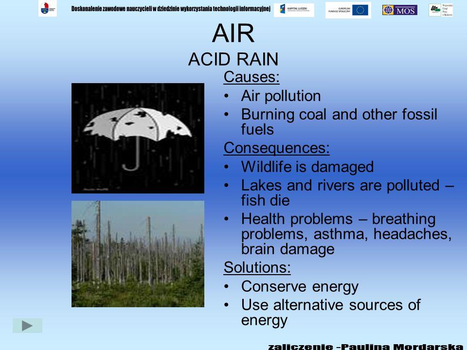 AIR ACID RAIN Causes: Air pollution