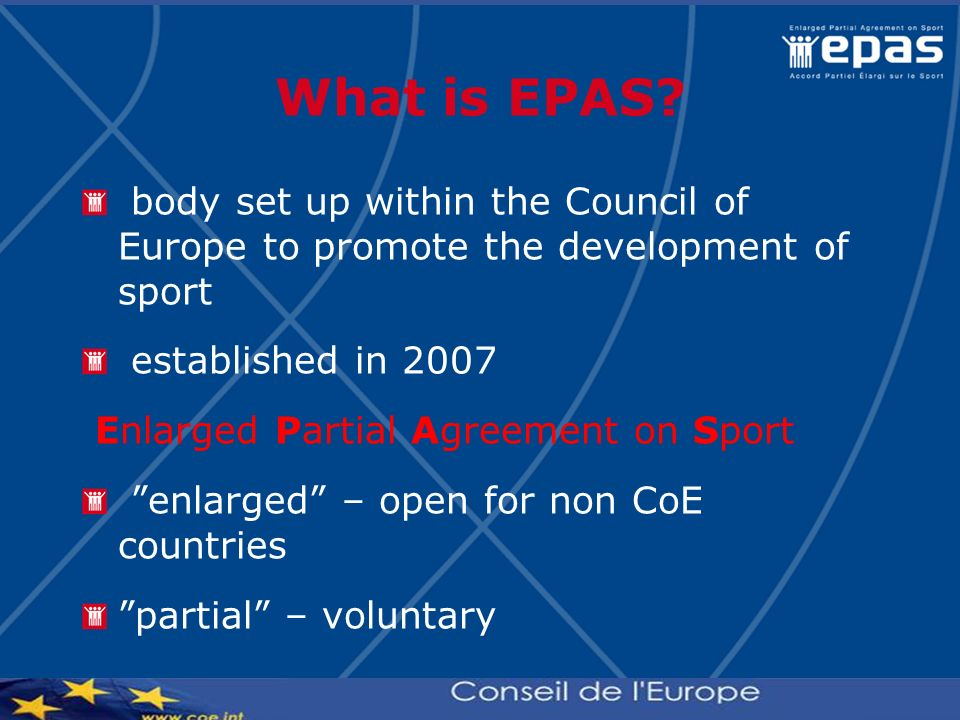 What is EPAS body set up within the Council of Europe to promote the development of sport. established in 2007.