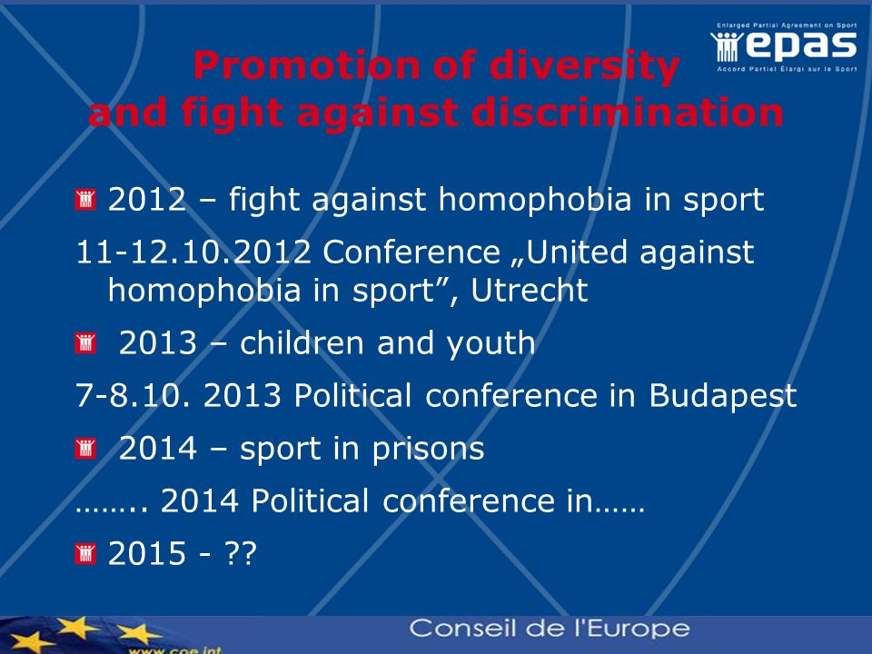 Promotion of diversity and fight against discrimination