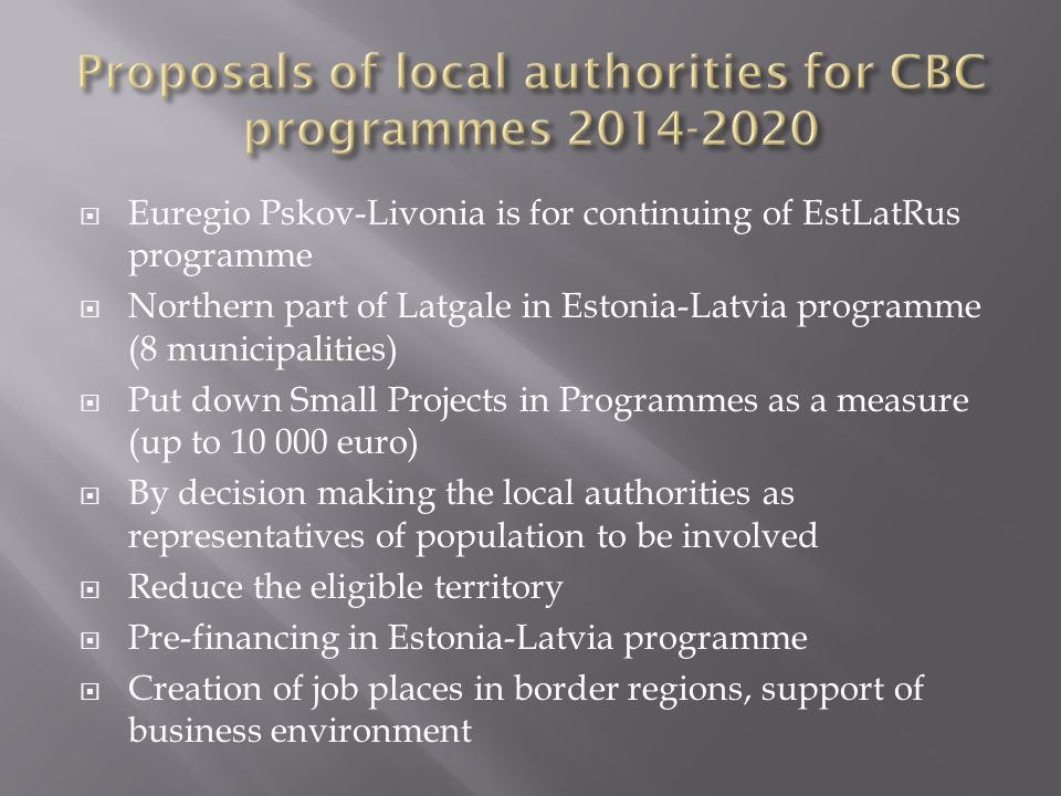 Proposals of local authorities for CBC programmes