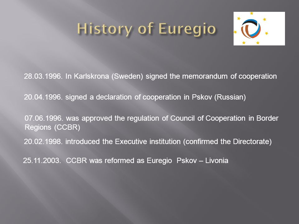 History of Euregio In Karlskrona (Sweden) signed the memorandum of cooperation.