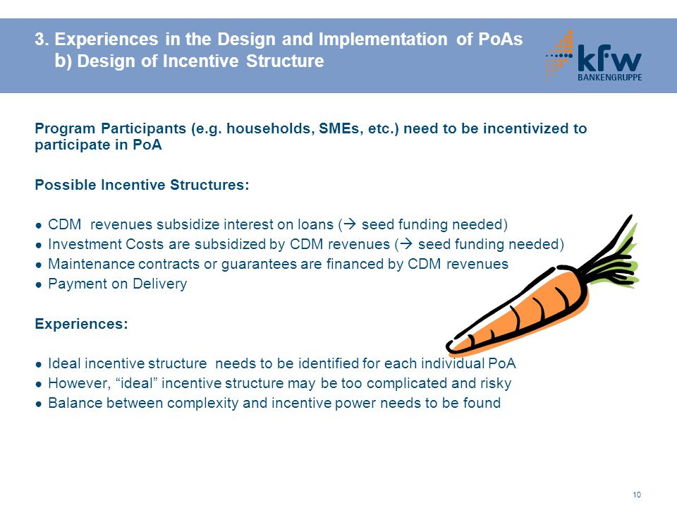 3. Experiences in the Design and Implementation of PoAs b) Design of Incentive Structure