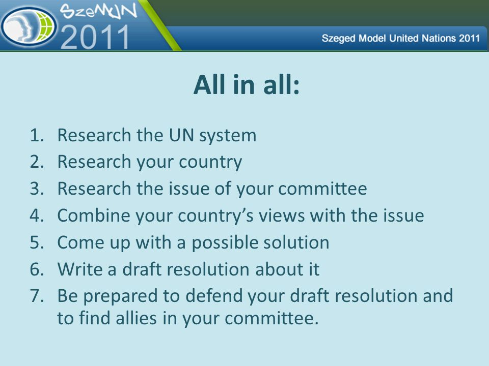 All in all: Research the UN system Research your country