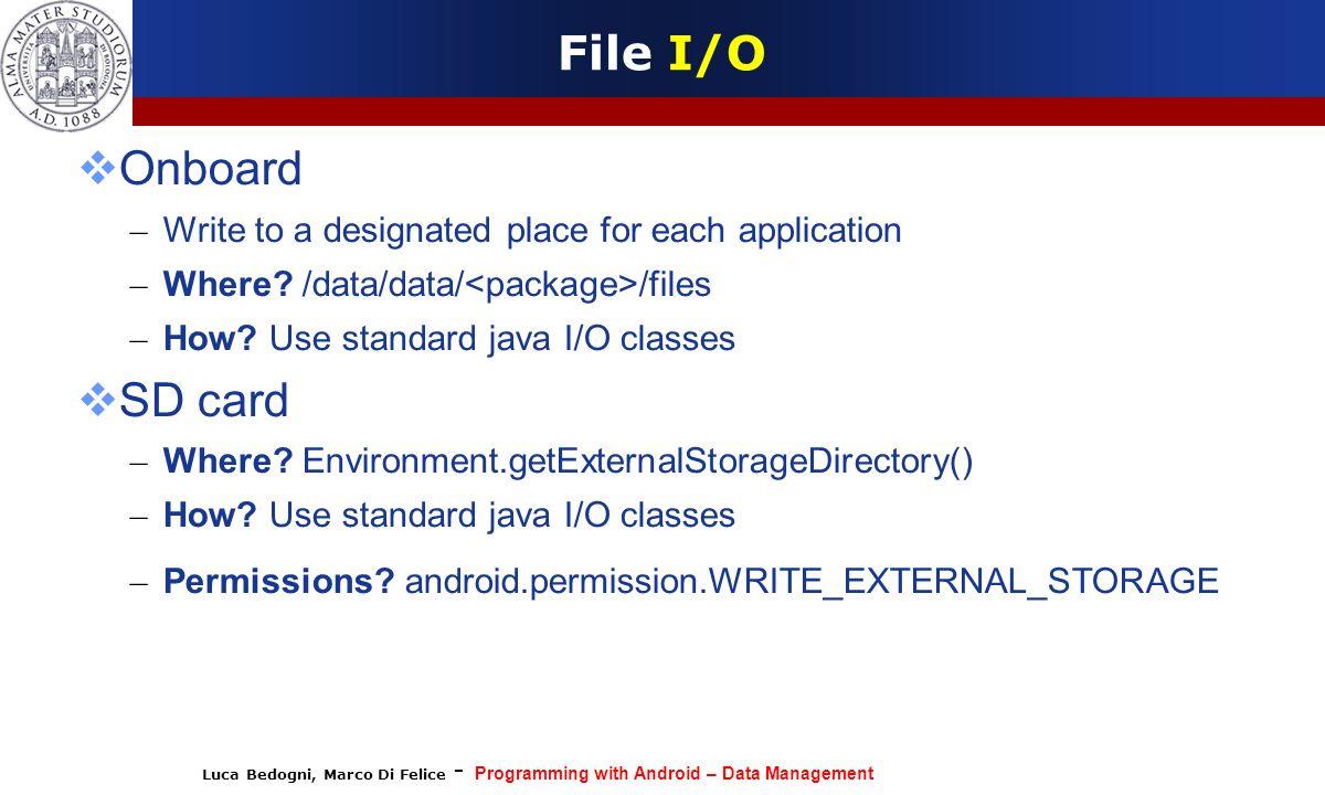 File I/O Onboard SD card