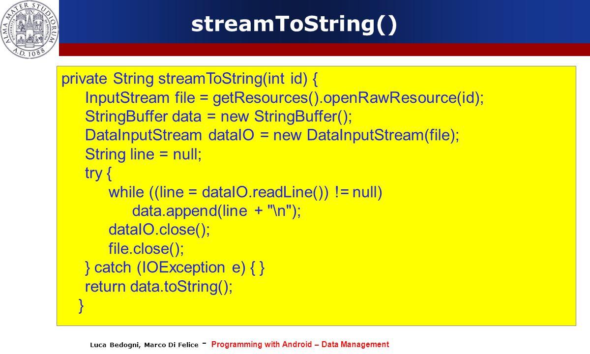 streamToString() private String streamToString(int id) {