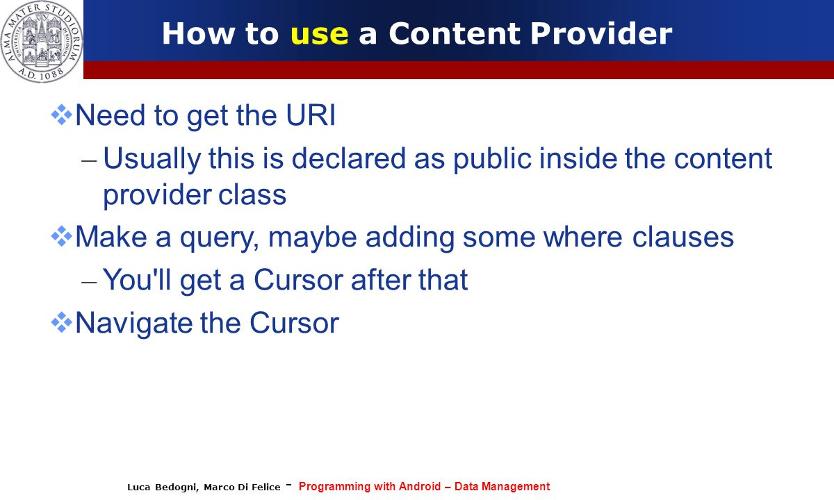 How to use a Content Provider