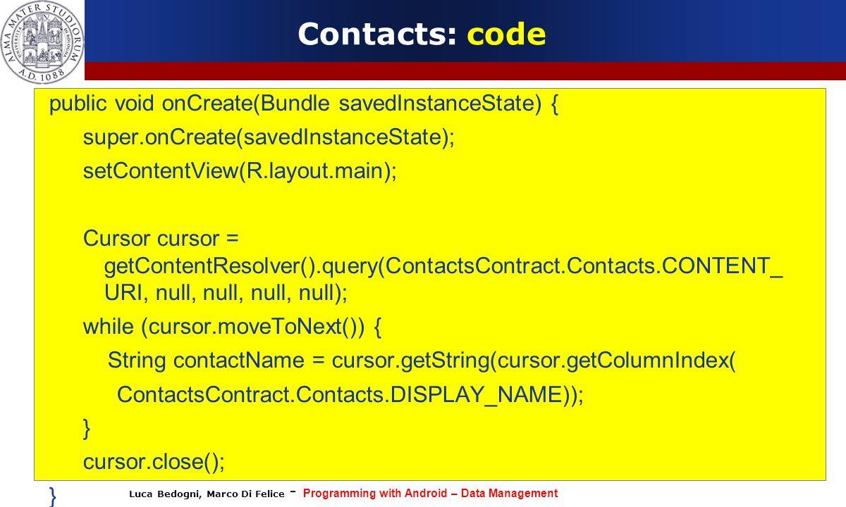 Contacts: code public void onCreate(Bundle savedInstanceState) {
