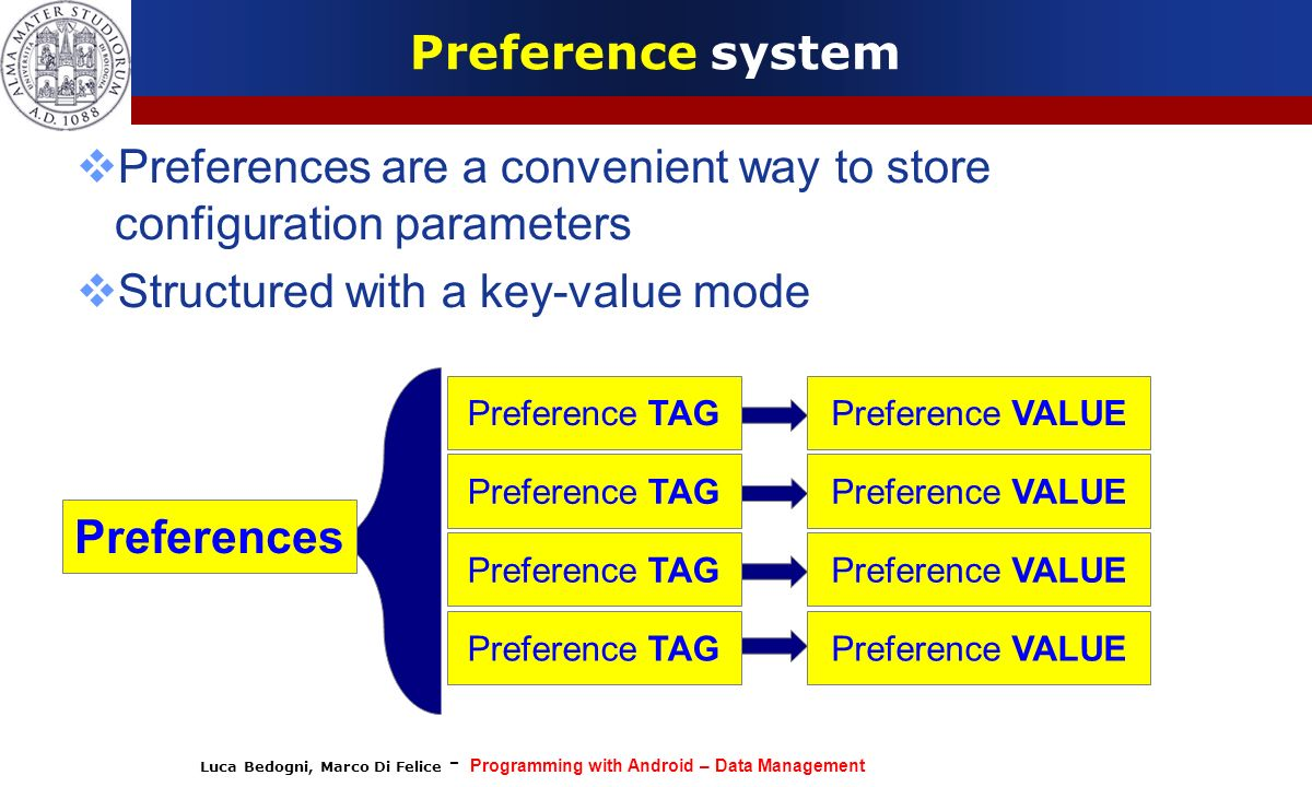 Preferences are a convenient way to store configuration parameters