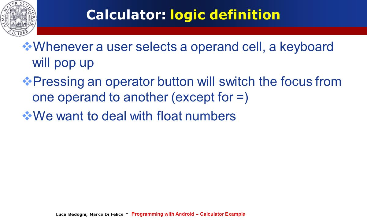 Calculator: logic definition