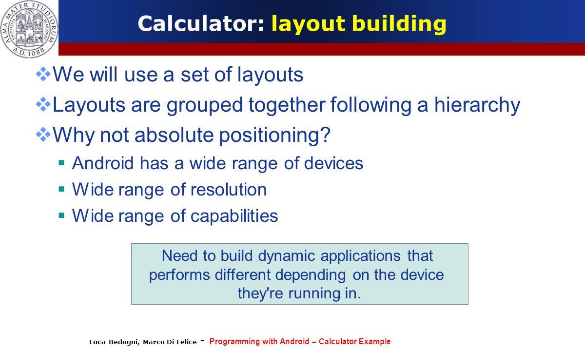 Calculator: layout building