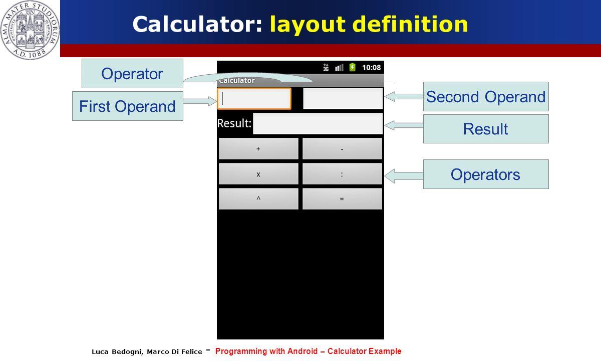 Calculator: layout definition