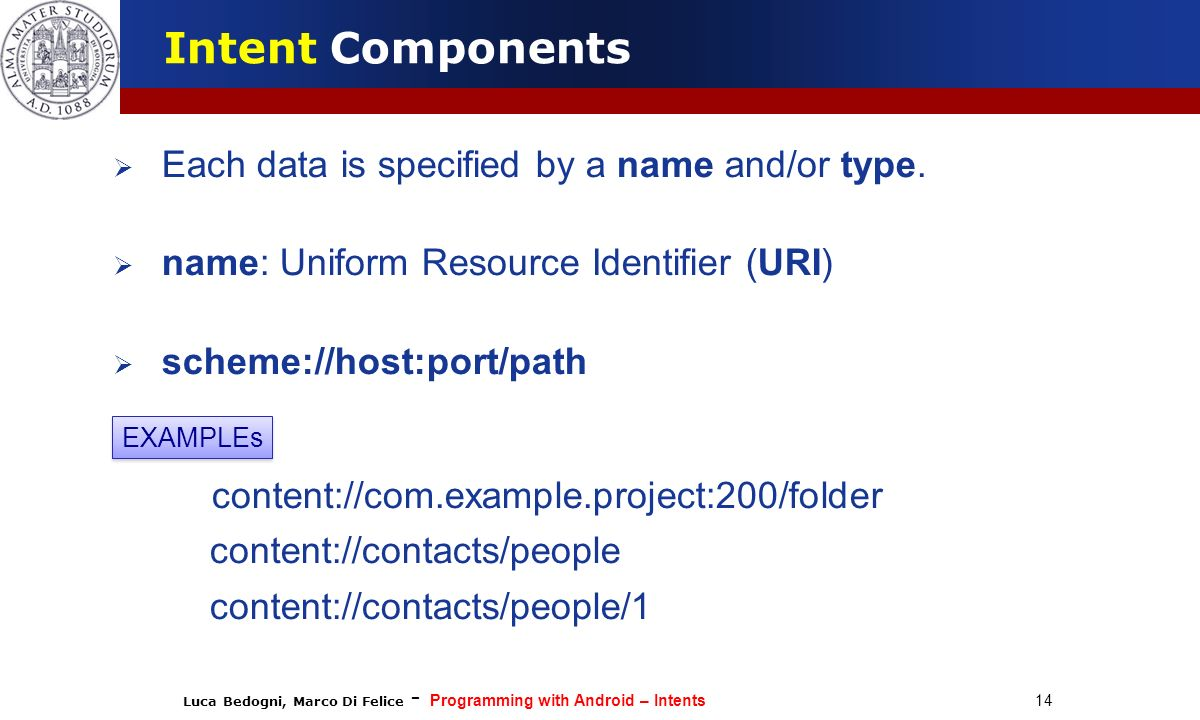 Intent Components Each data is specified by a name and/or type.