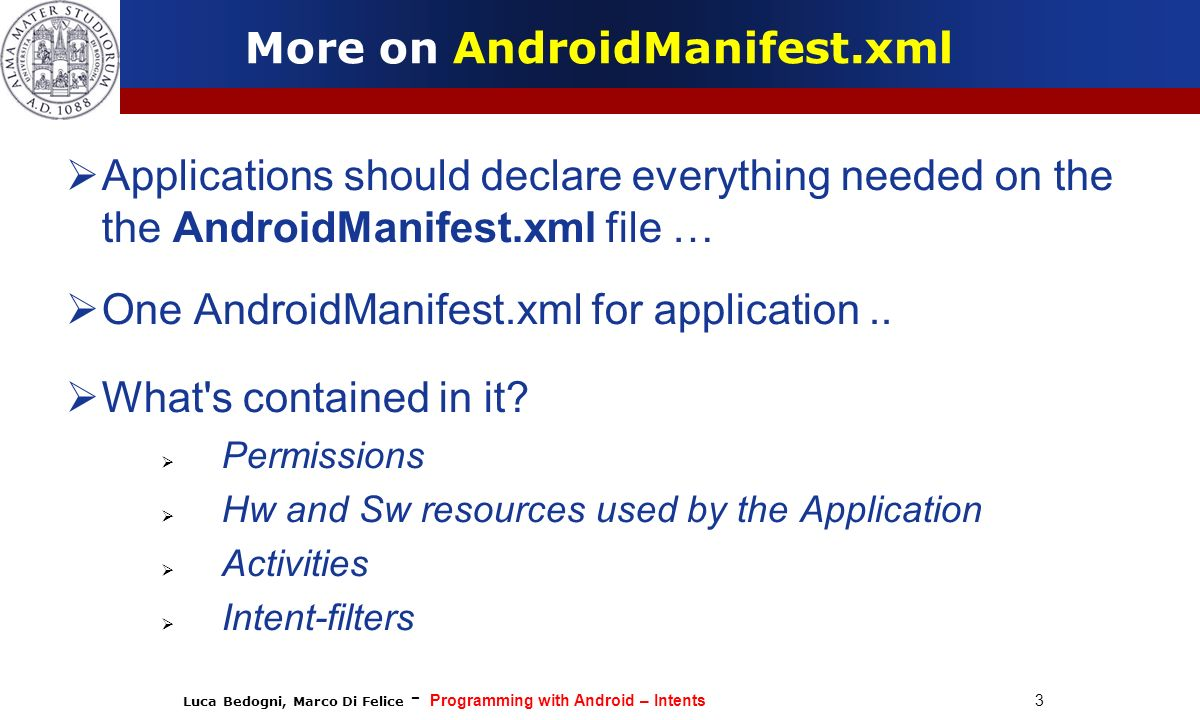 More on AndroidManifest.xml