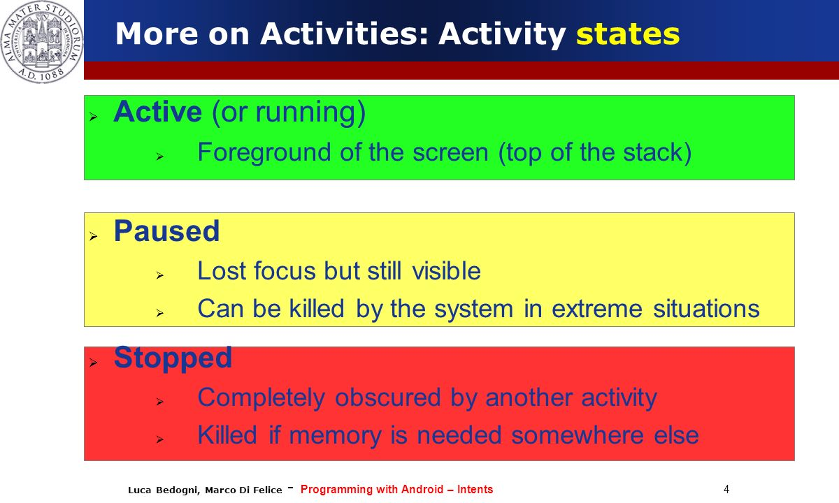 More on Activities: Activity states