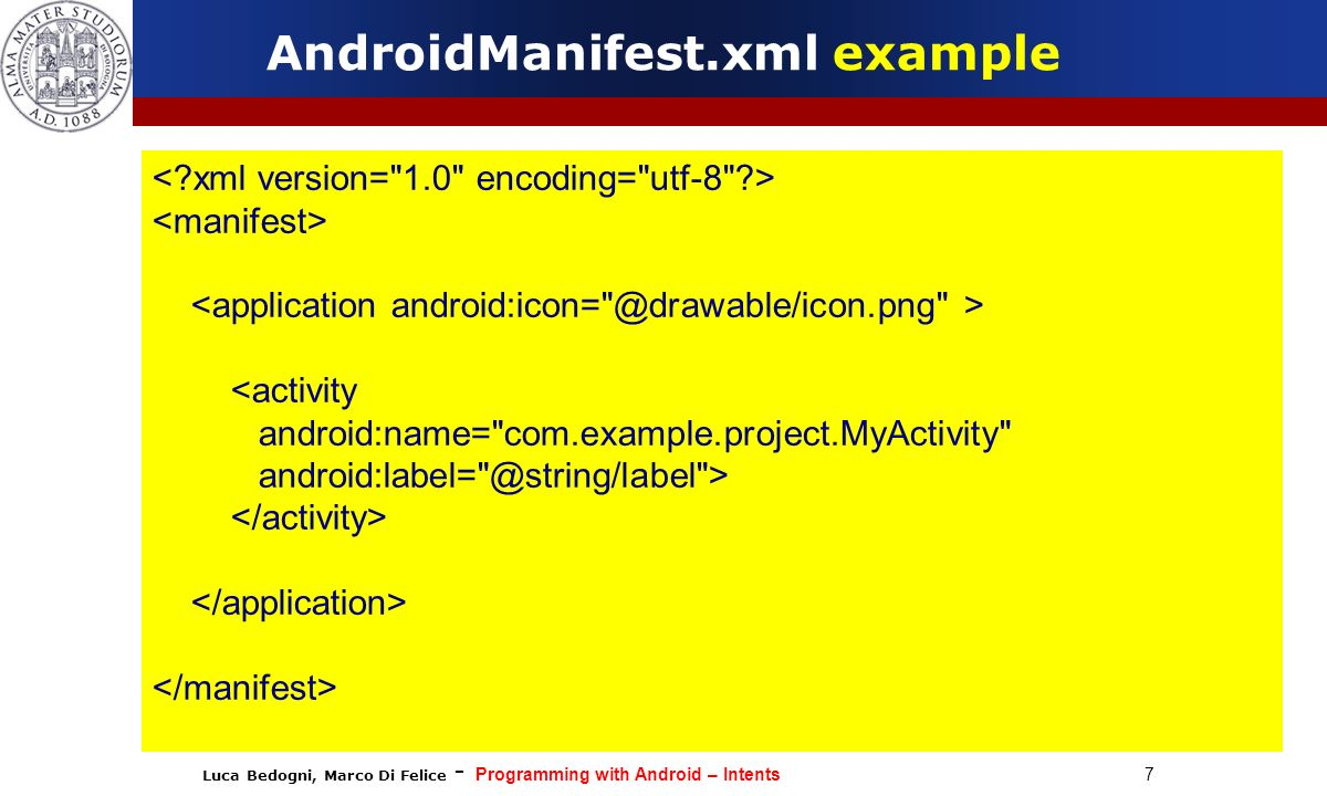 AndroidManifest.xml example