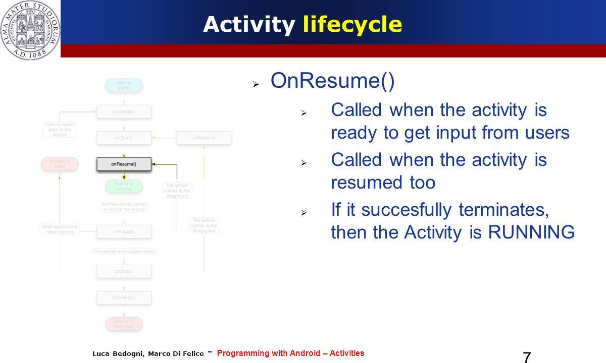 Activity lifecycle OnResume()