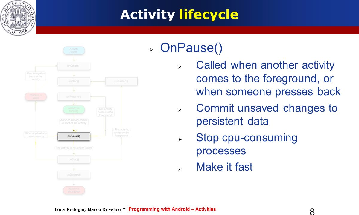 Activity lifecycle OnPause()