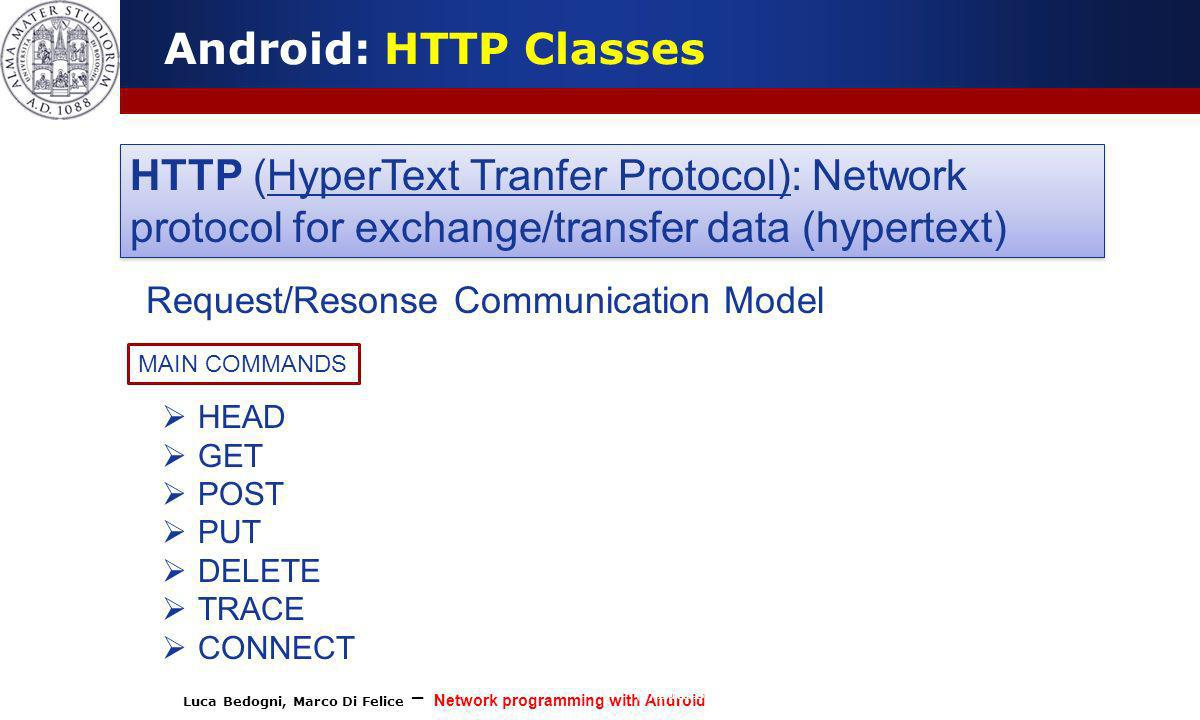 Android: HTTP Classes HTTP (HyperText Tranfer Protocol): Network protocol for exchange/transfer data (hypertext)