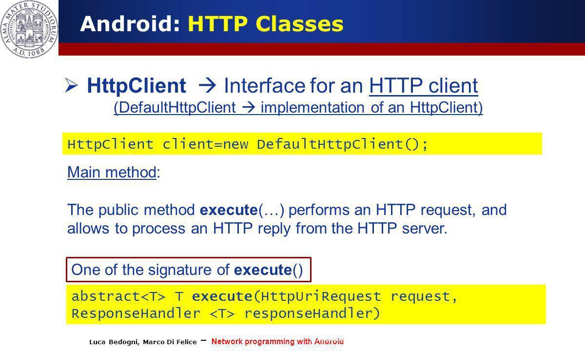 (DefaultHttpClient  implementation of an HttpClient)
