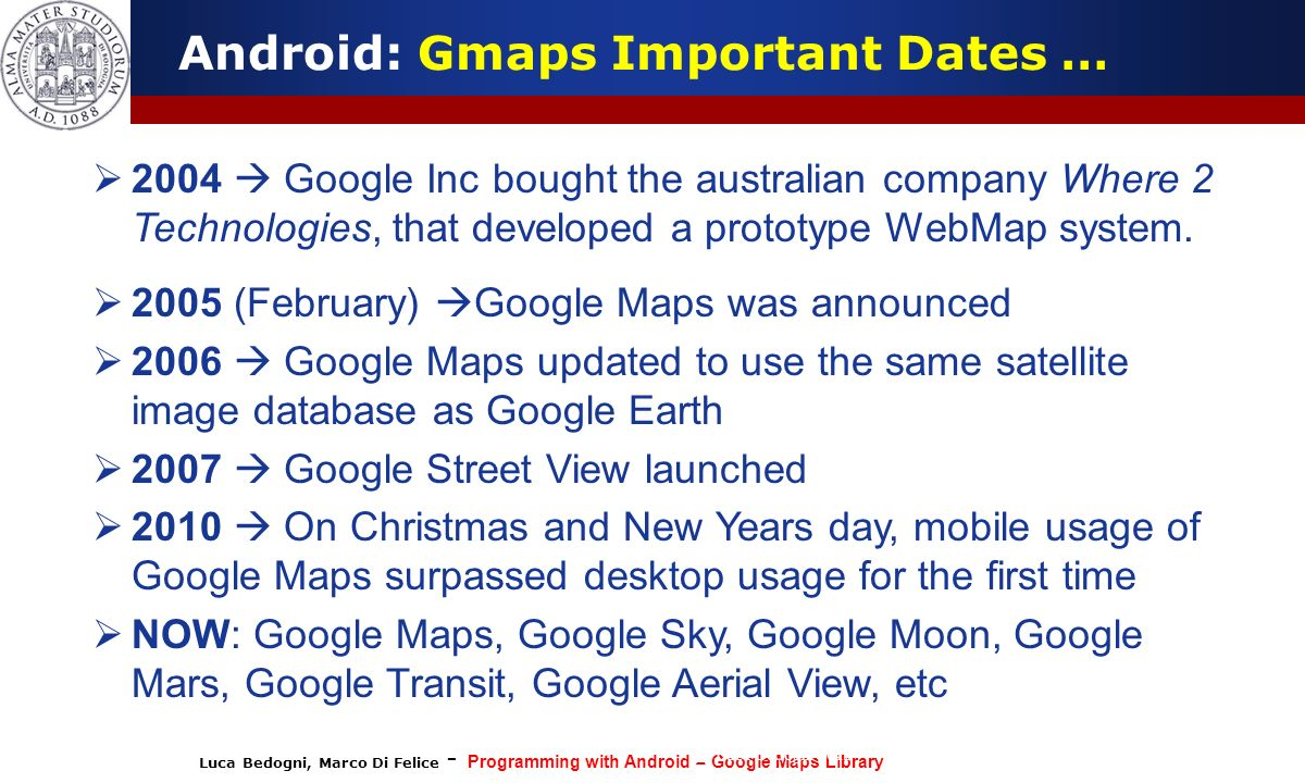 Android: Gmaps Important Dates …
