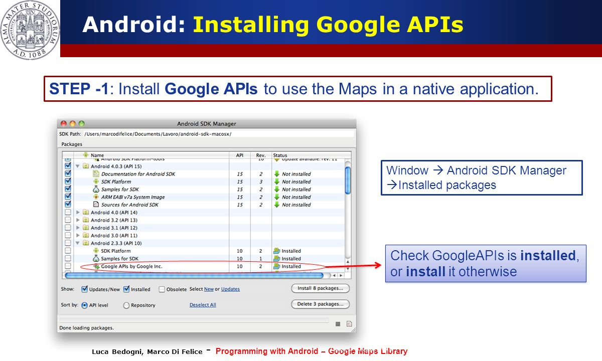 Android: Installing Google APIs