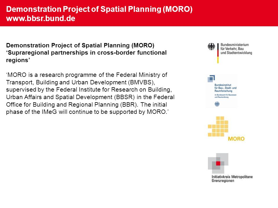 Demonstration Project of Spatial Planning (MORO) www.bbsr.bund.de