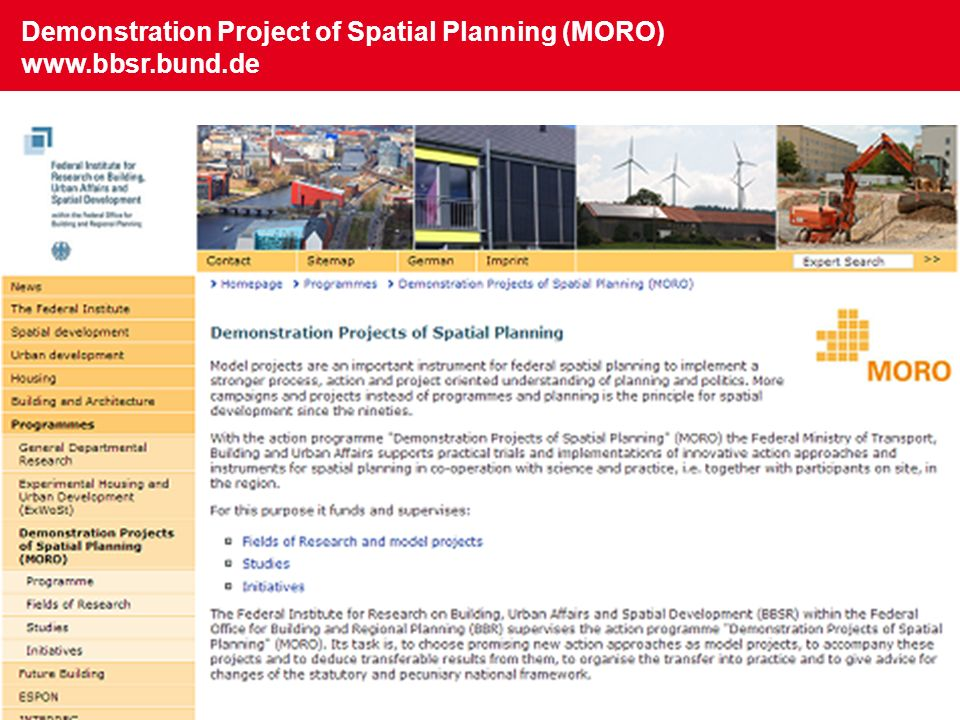 Demonstration Project of Spatial Planning (MORO) www.bbsr.bund.de