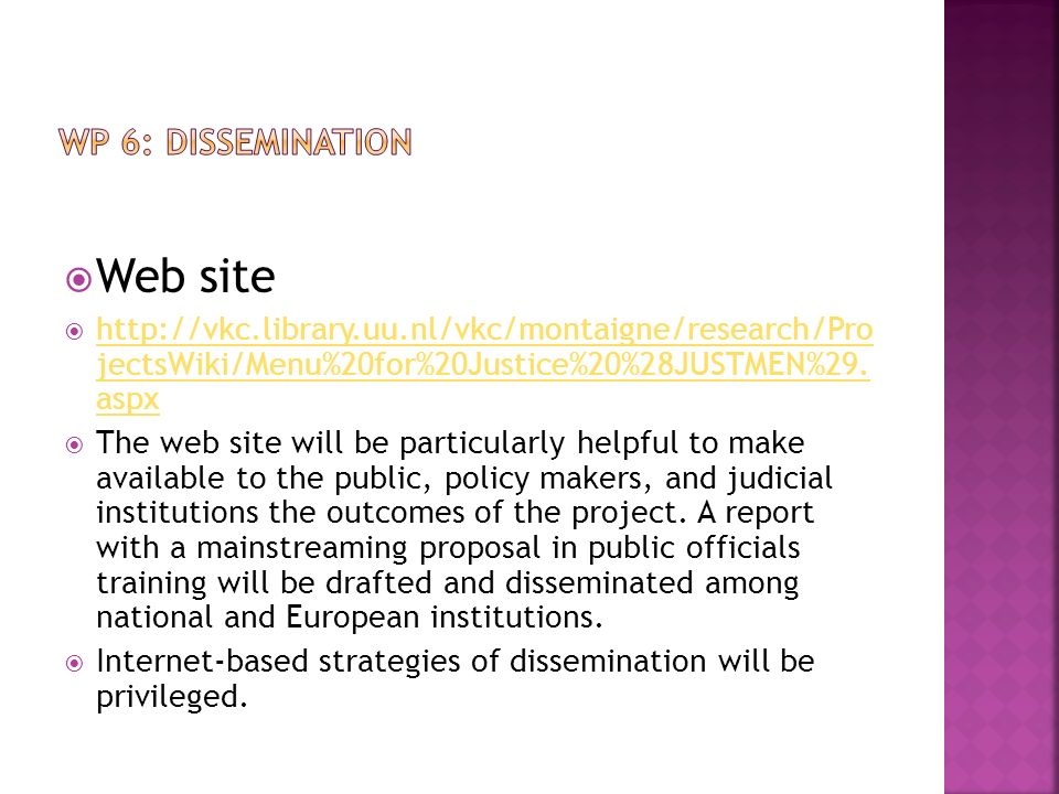 Web site WP 6: DISSEMINATION