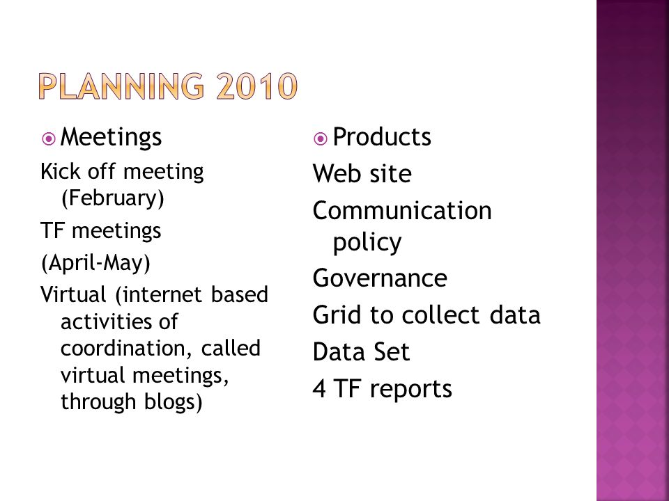 Planning 2010 Meetings Products Web site Communication policy