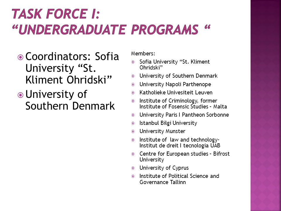 Task force I: UNDERGRADUATE PROGRAMS