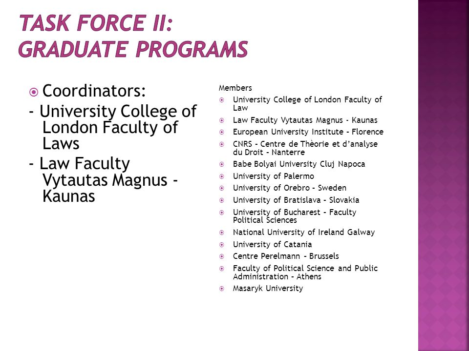 Task force II: GRADUATE PROGRAMS