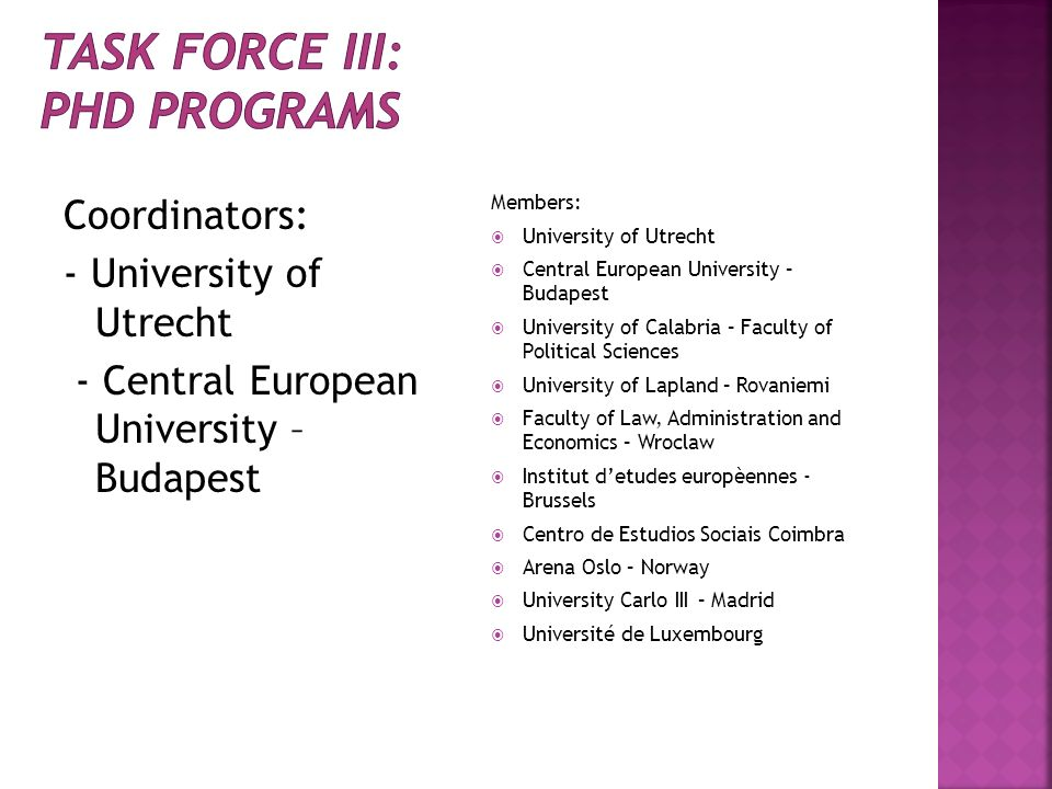Task force III: PhD Programs