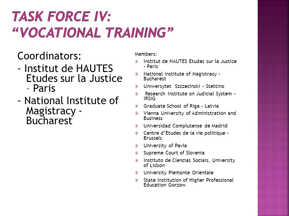 Task force IV: VOCATIONAL TRAINING