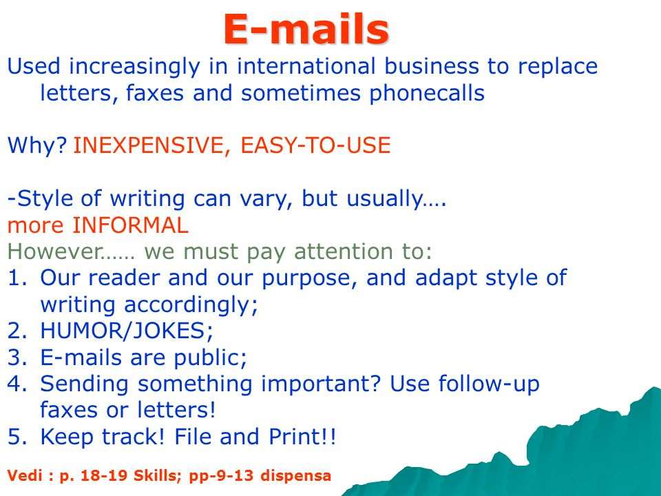 E-mails Used increasingly in international business to replace letters, faxes and sometimes phonecalls.