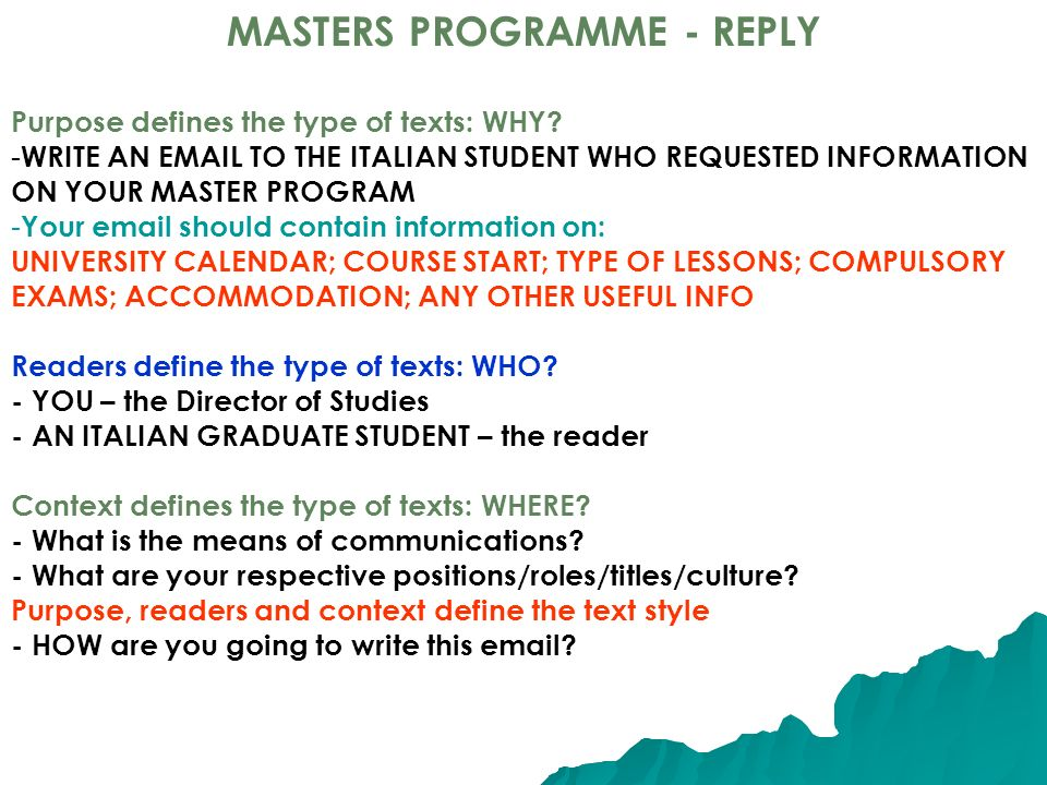 MASTERS PROGRAMME - REPLY