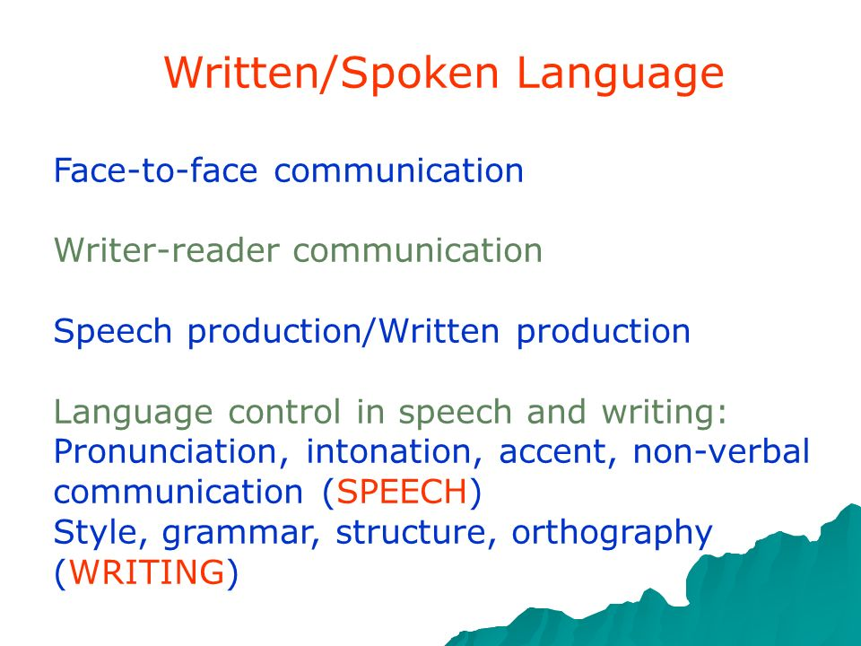 Written/Spoken Language