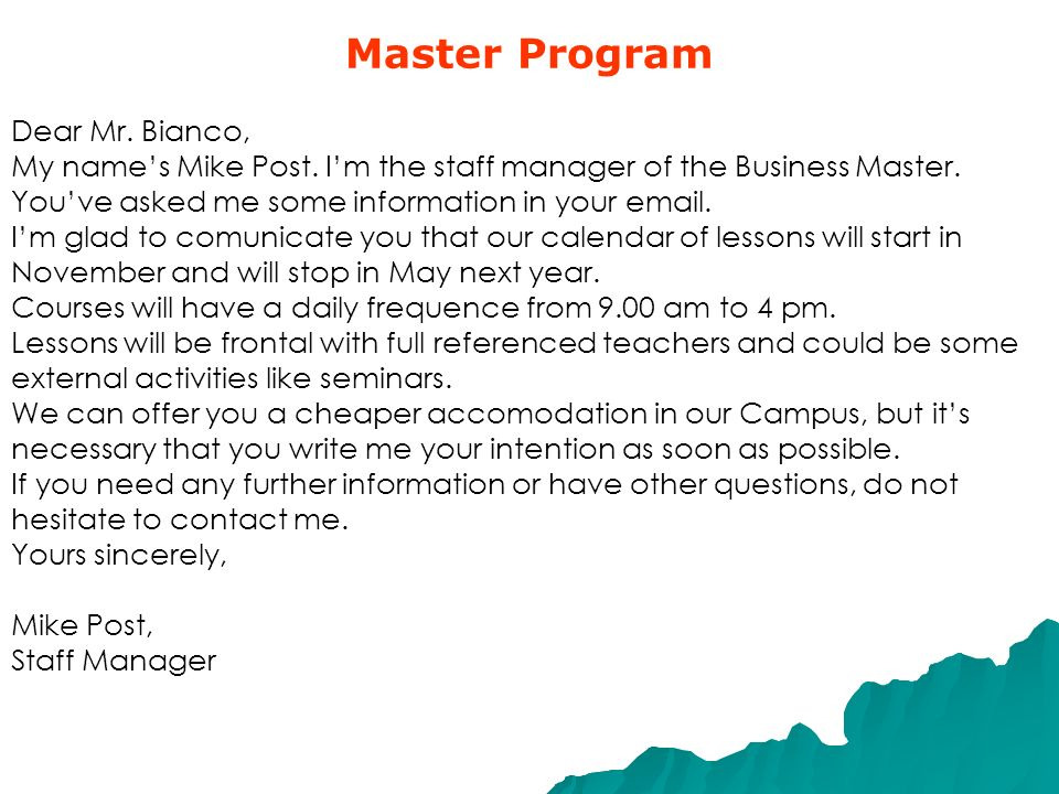 Master Program Dear Mr. Bianco,