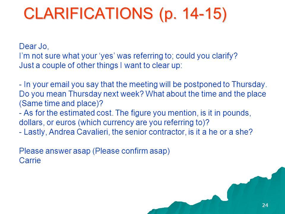 CLARIFICATIONS (p.
