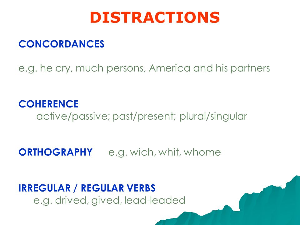 DISTRACTIONS CONCORDANCES