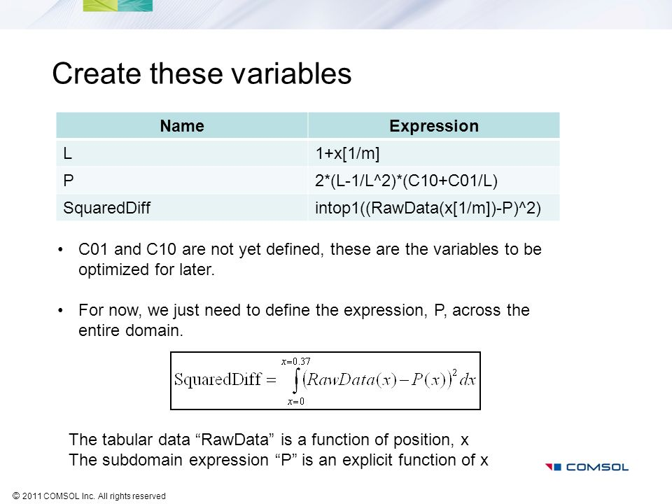 Create these variables
