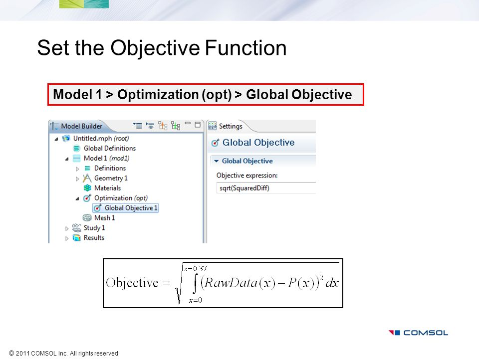 Set the Objective Function