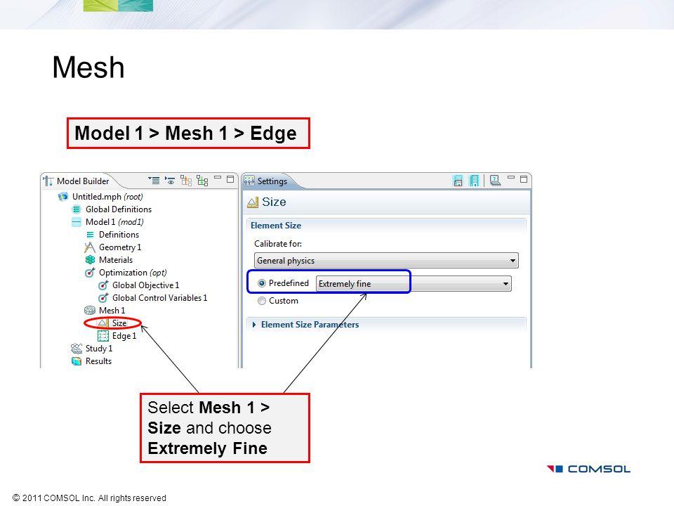 Mesh Model 1 > Mesh 1 > Edge