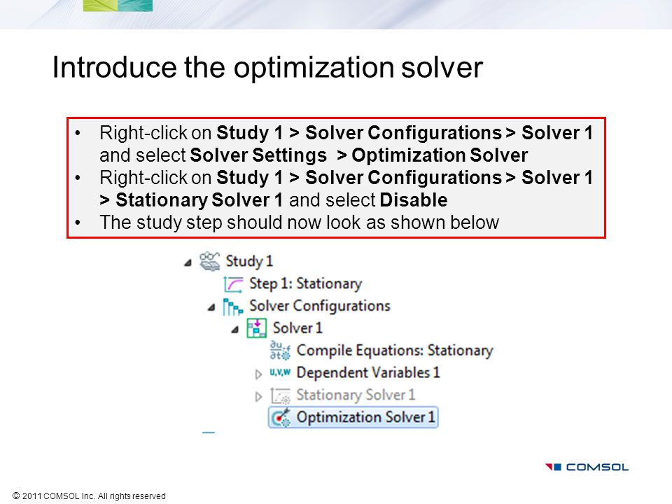 Introduce the optimization solver