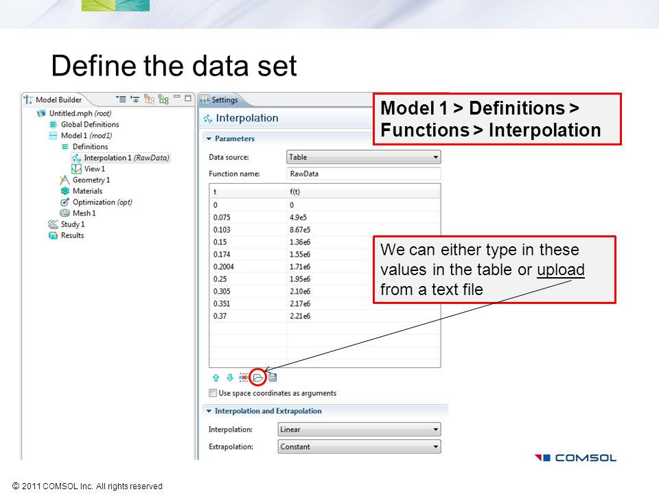 Define the data set Model 1 > Definitions > Functions > Interpolation.