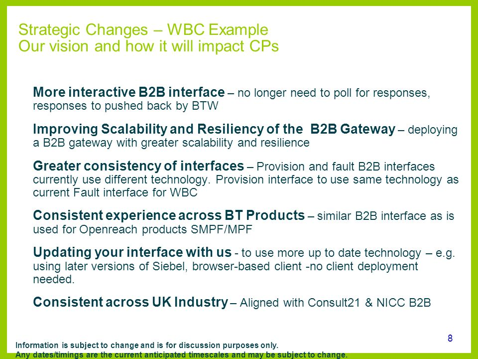 Strategic Changes – WBC Example Our vision and how it will impact CPs