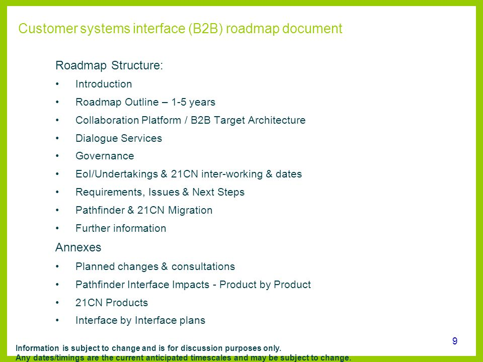 Customer systems interface (B2B) roadmap document