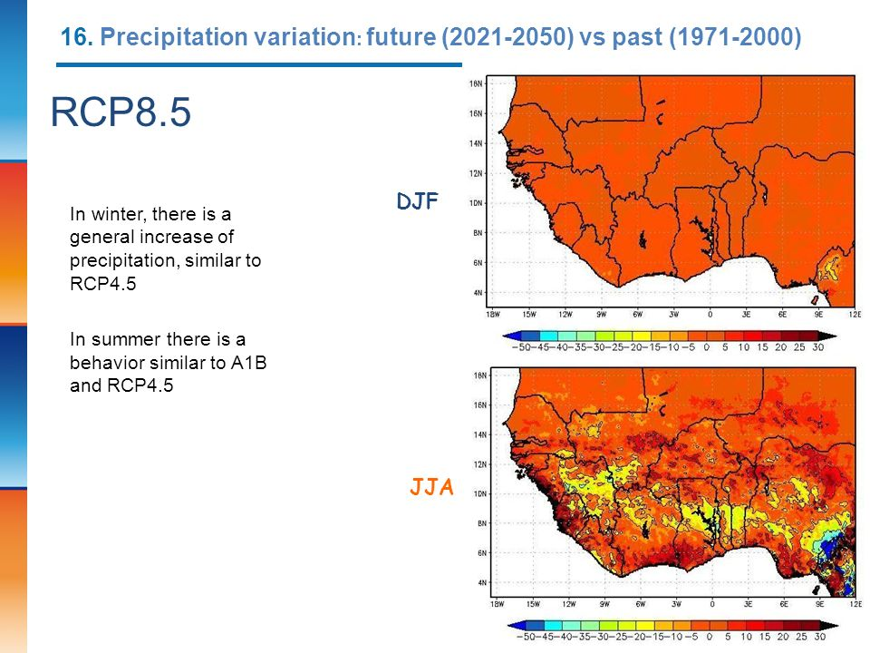 16. Precipitation variation: future (2021-2050) vs past (1971-2000)