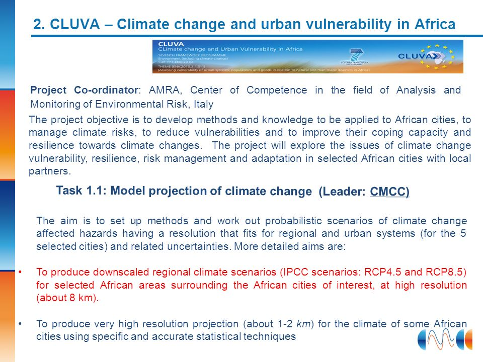 2. CLUVA – Climate change and urban vulnerability in Africa