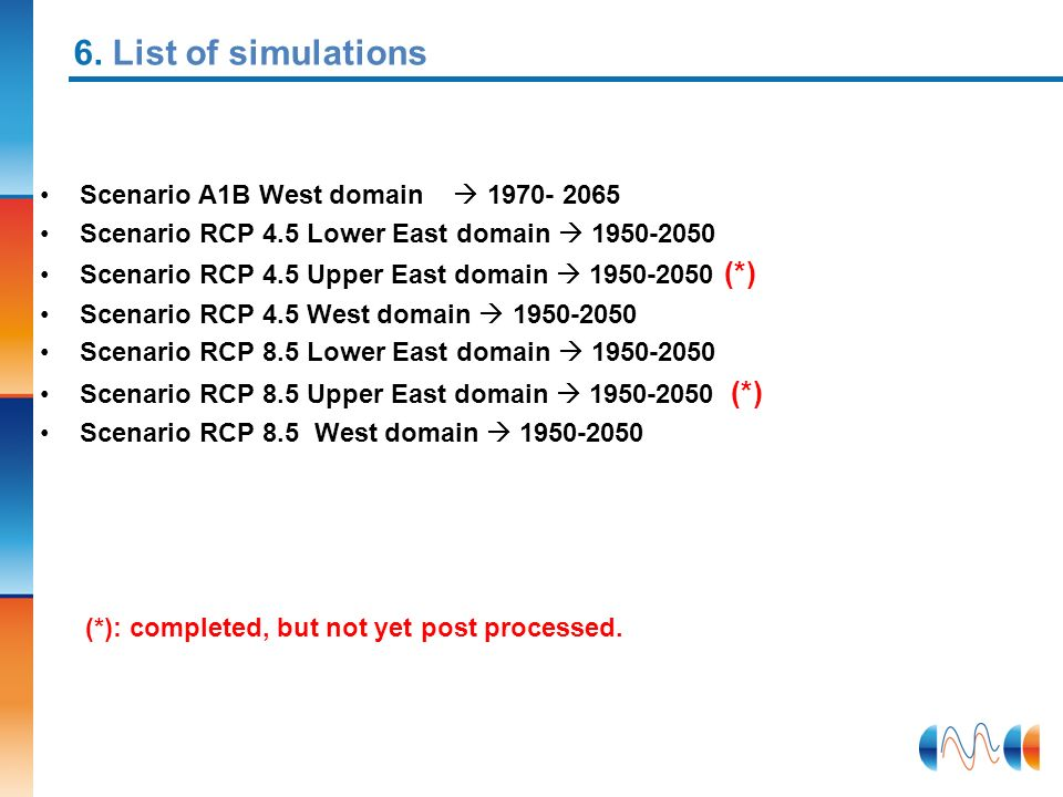 6. List of simulations Scenario A1B West domain  1970- 2065