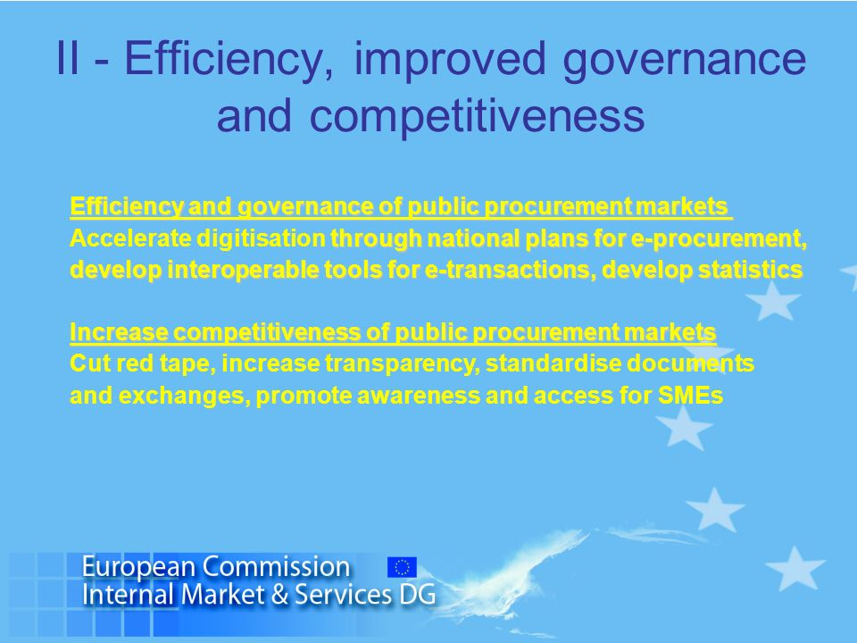 II - Efficiency, improved governance and competitiveness